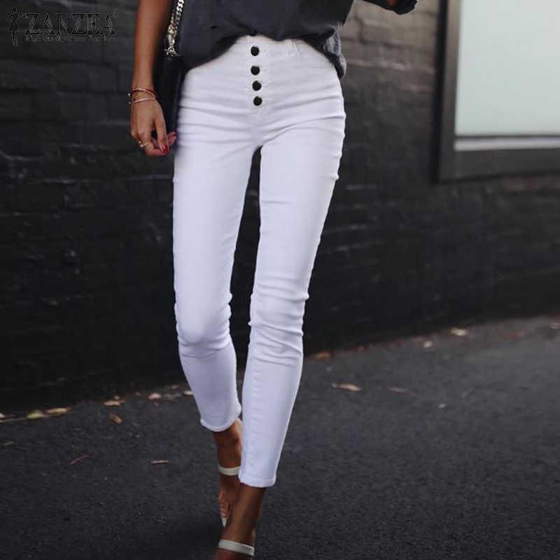 ZANZEA 2020 moda kobiety spodnie z wysokim stanem panie na co dzień jednolita, z guzikami spodnie elastyczne spodnie i spódnice Harem długie Pantalones Streetwear