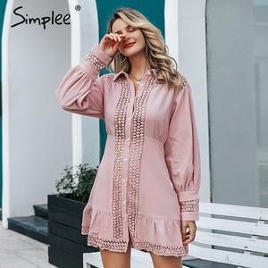 Image 1 - Simplee Elegant cotton lace women dress Long lantern sleeve ruffle A line white short dress Hollow out party winter dresses 2019