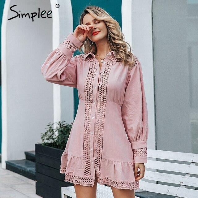 Simplee Elegant cotton lace women dress Long lantern sleeve ruffle A line white short dress Hollow out party winter dresses 2019