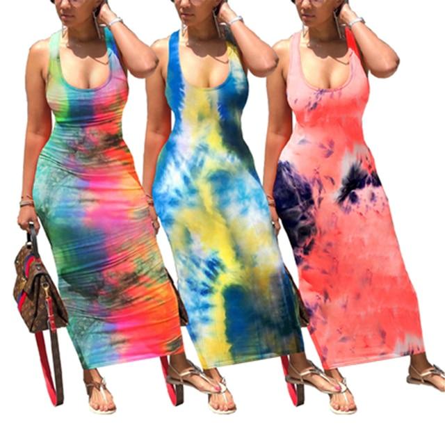Femmes cravate teinture gaine impression robe en forme de U cou à lacets dos Maxi robe été creux-out vêtements