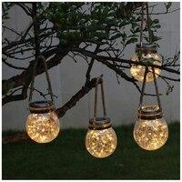 Solar Hanging Lamp 20LED Light Strip Crack Glass Bottle Lantern Lamp Home Decor Hemp Rope Design Courtyard Light Waterproof
