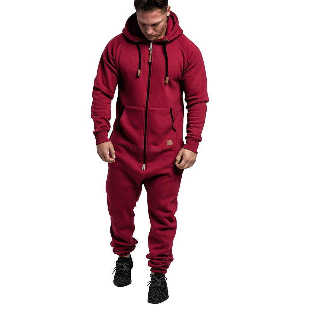 Men Pure Color Splicing Winter Autumn Casual Hoodie Print Fake Zipper Print Jumpsuit One Piece Pyjamas Male Jumpsuits Hooded