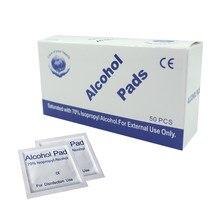 50 pçs/caixa almofadas descartáveis do álcool almofadas de desinfecção feridas portáteis para o curso ao ar livre casa selado cuidados de saúde da embalagem estéril