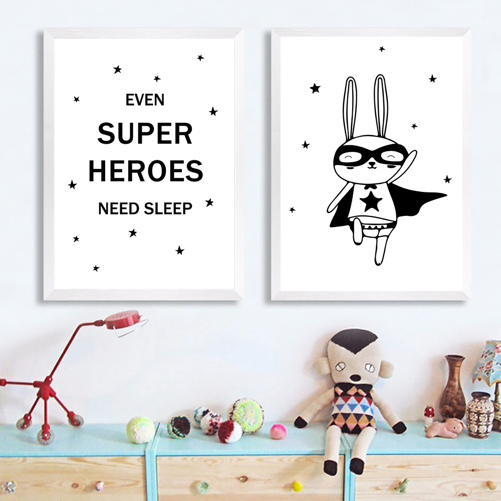Poster Black And White Posters Prints Kids Room Canvas Art Print Rabbit Painting Nordic Unframed
