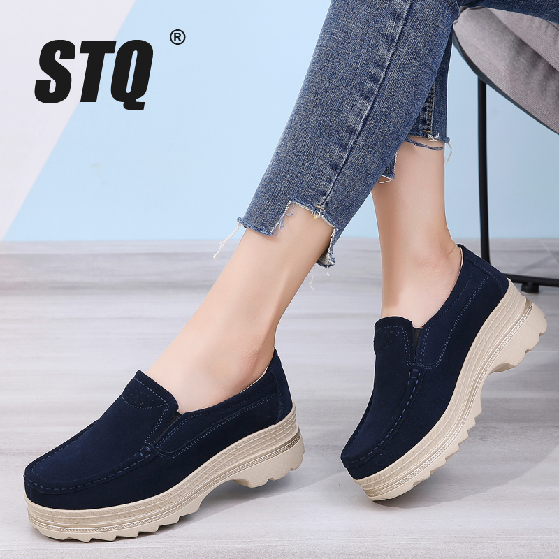 STQ Shoes Loafers Sneakers Creepers Slip-On Ladies Platform Autumn Flat Casual 3216 Suede