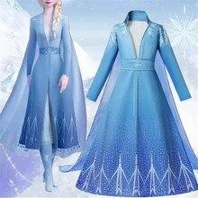 4-10 jahre Mädchen Elsa 2 Königin Kleid für Mädchen Disguise Anna Prinzessin Kleider Baby Kinder Halloween Party Kleid kinder Carnaval Kleid
