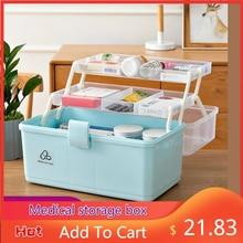 Trousse de premiers soins Portable à 3 niveaux, armoire à médicaments multifonctionnelle en plastique, boîte d'urgence familiale