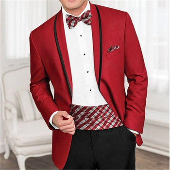 New Men's Suit Smolking Noivo Terno Slim Fit Easculino Evening Suits For Men red groom tuxedo high quality prom blazers(Jacket+P