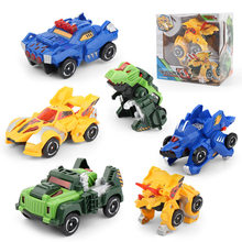 Transforming Dinosaur Cars Toy Automatic Dino Dinosaur Transformer Toy Car Pull Back Dinosaur Car Kids Toy For Kids Gift(China)