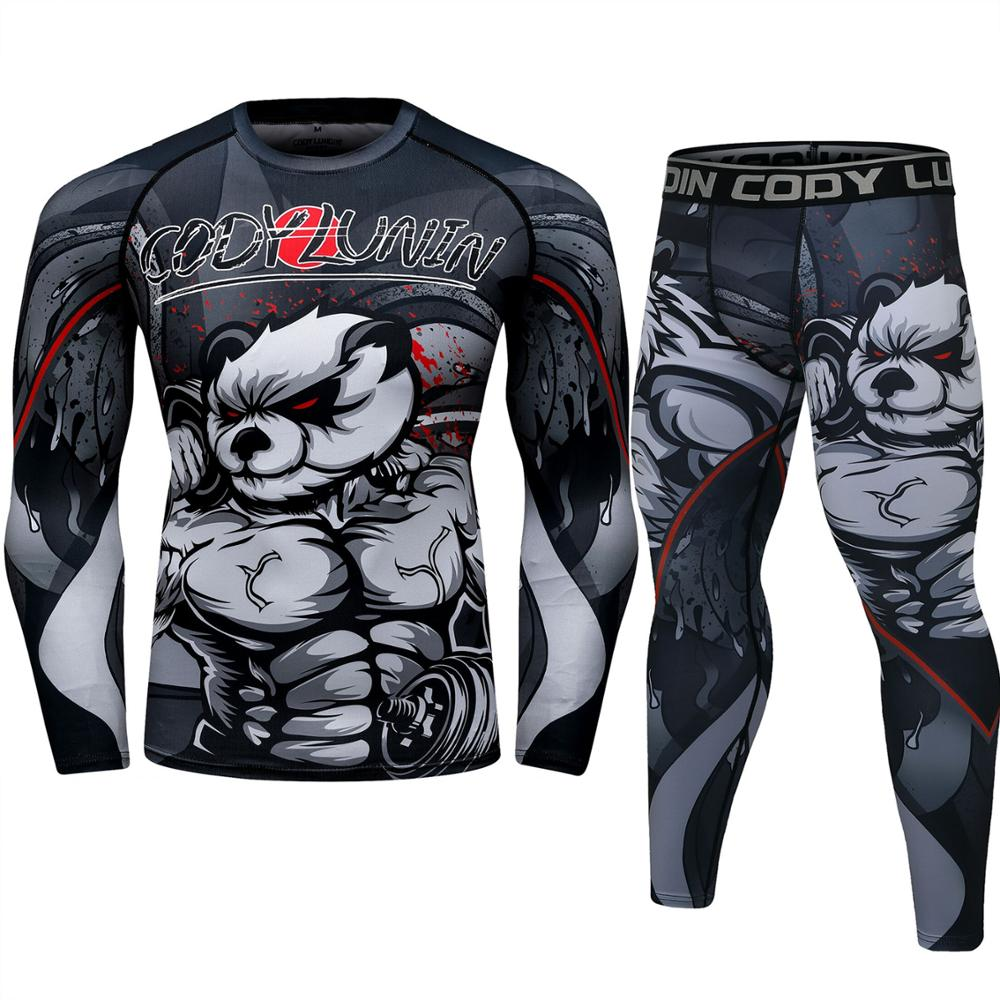 MMA Rashguard Men Sports Suit 3D Printing MMA Boxing Jerseys Men Kickboxing Muay Thai Shorts Men Fightwear Bjj MMA T-shirts