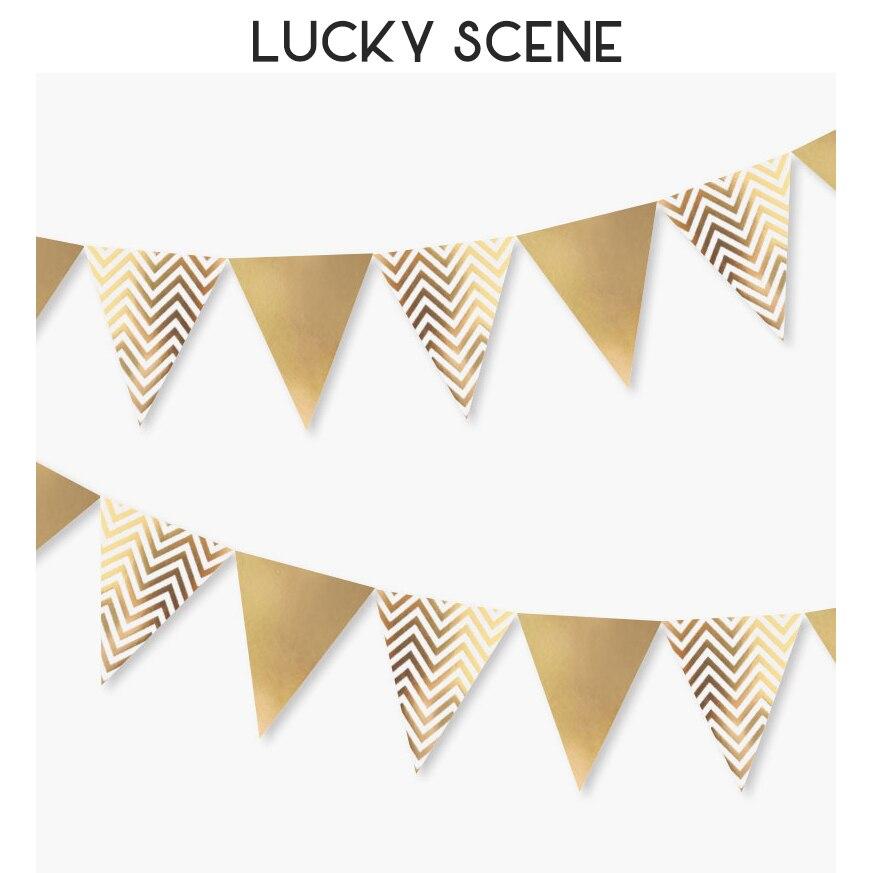 Ouro metálico festa bandeira bandeira onda padrões pennant bunting guirlanda para casamento chá de panela do bebê aniversário s00165