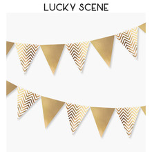 Metallic Gold Party Flag Banner Wave Patterns Pennant Bunting Garland for Wedding Baby Bridal Shower Birthday Anniversary S00165