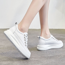 Купить с кэшбэком Women White Height Increasing Shoes Genuine Leather Platform Shoes Spring/Summer/Autumn/Winter Casual Lady Female Loafers