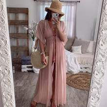 2020 Zomer Solid Lace Beach Cover Up Lange Vest Lace Up Badmode Strand Jurk Kaftan Beach Wear Badpak Pareo Saida de Praia(China)