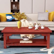 All solid wood logs simple household living room small apartment double storage simple tea table table table coffee table(China)