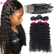 Brazilian Deep Wave Human Hair Bundles With Closure 4x1T Part Lace Closure With Human Hair Nature Color