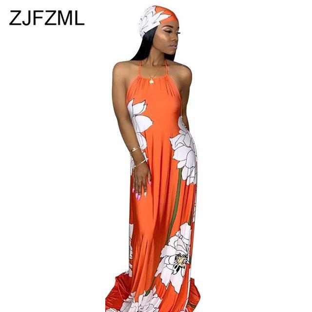 Floral Print Summer Boho Dresses Women Off Shoulder Backless Long Beach Dress Casual Halter Sleeveless Maxi Dress With Headscarf 1