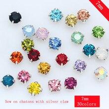 36pcs 7 milímetros Sew em Vidro De Cristal Strass Prata Diamante Flatback Diy Decorativo Copo Garra 4-buracos de Costura roupas artesanais Contas