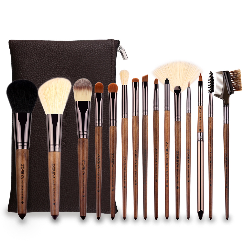Набор кистей для макияжа Spot 15 черная рукоятка из ореха нейлоновый набор для макияжа волос