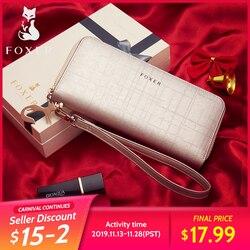 FOXER para mujer carteras de mano de lujo Cartera de cuero dividido bolsos de embrague para mujer titular de la tarjeta monedero teléfono móvil bolsa 241044F