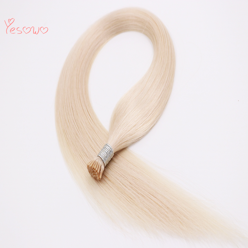 Yesowo I Tip Pre Bonded Remy Hair 22Inch 60# 40g Russian Straight Human Hair Blonde Hair Extensions Keratin