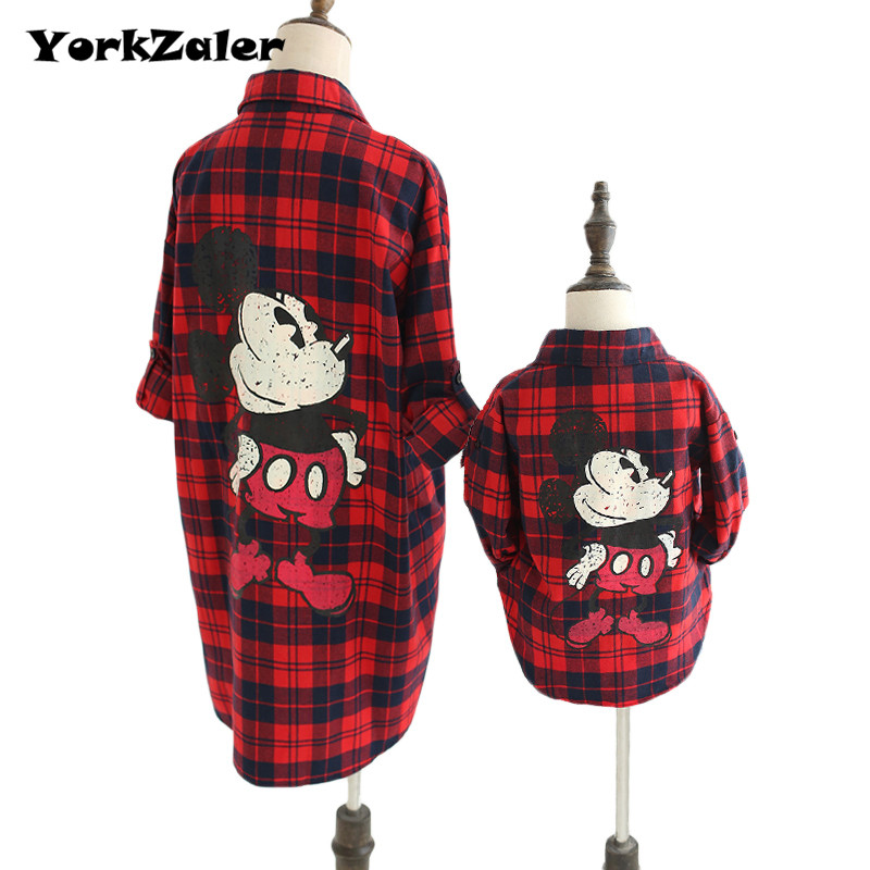 YorkZaler Family Matching Clothing Spring Summer Mother Daughter Son Clothes Outfits Mom Baby Kid Red Plaid Shirt Family Look