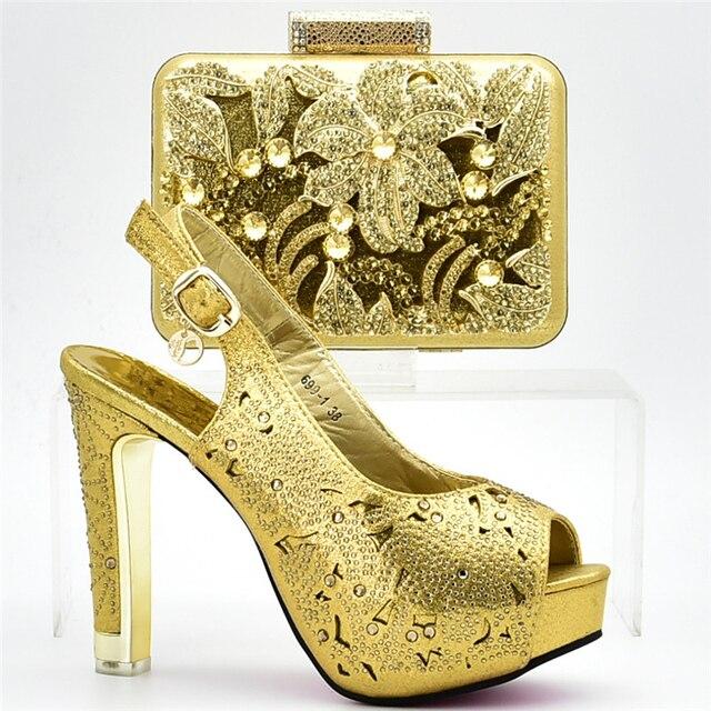 Nuevos zapatos italianos de moda con bolsos a juego para las mujeres últimas mujeres nigerianas zapatos y Bolsa DE BODA decoradas con diamantes de imitación