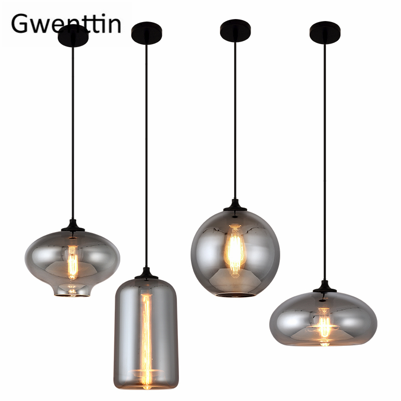 Modern Smoke Gray Glass Pendant Lights for Living Room Nordic Led Hanglamp Loft Industrial Hanging Lamp Home Decor Luminaire E27