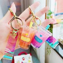 Creative Popsicle Glitter Key Chain Quicksand Keychain Liquid Floating Soft Drink Keyring Backpack Pendant Gift for women K085