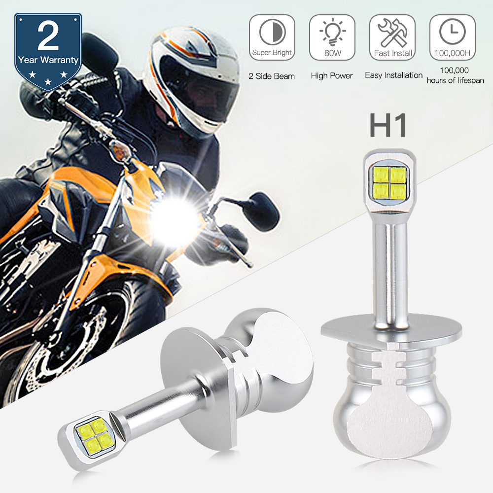 Bevinsee H7 LED Motorcycle Headlight H1 H3 H4 H7 H11 BA20D Bulbs H4 Led Motorcycle Moto Lamps BA20D Led Bright Lights