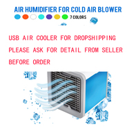 DEKAXI USB Air Conditioner Humidifier Purifier 7 Colors Cool Light Soothing Wind Air Cooler Fan Air Cooling Fan for Office