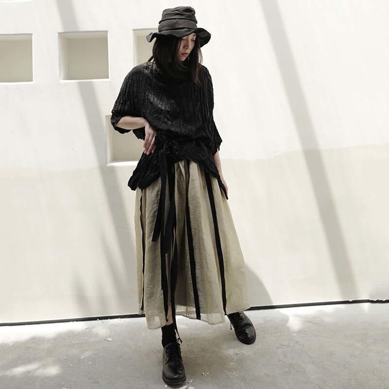 [EAM] Women Black Pleated Irregular Split Big Size T-shirt New Round Neck Half Sleeve  Fashion Tide  Spring Summer 2020 1W318 6
