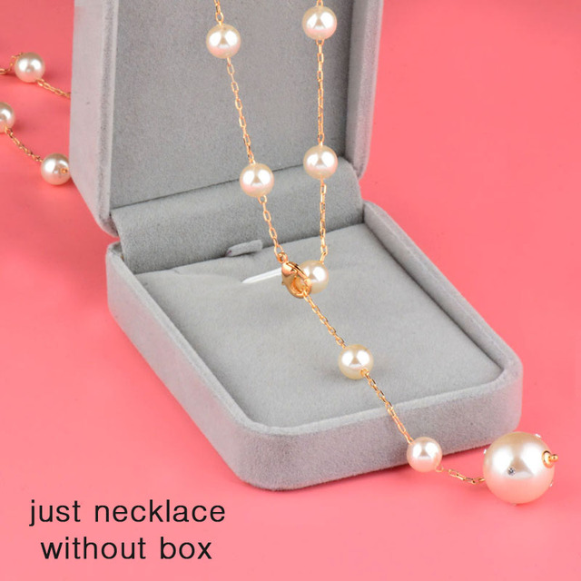 SINLEERY Elegant Adjustable Buckle Pendant Necklace Yellow Gold Color Long Chain White Pearl Neckalce Women Jewelry MY315 SSG