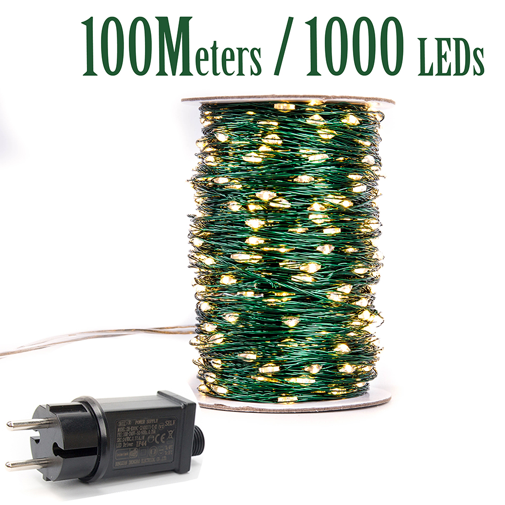 Green Cbale 1000 LED String Lights 100m Street Fairy Lights Outdoor Waterproof Tree Garland Christmas Holiday Decorration