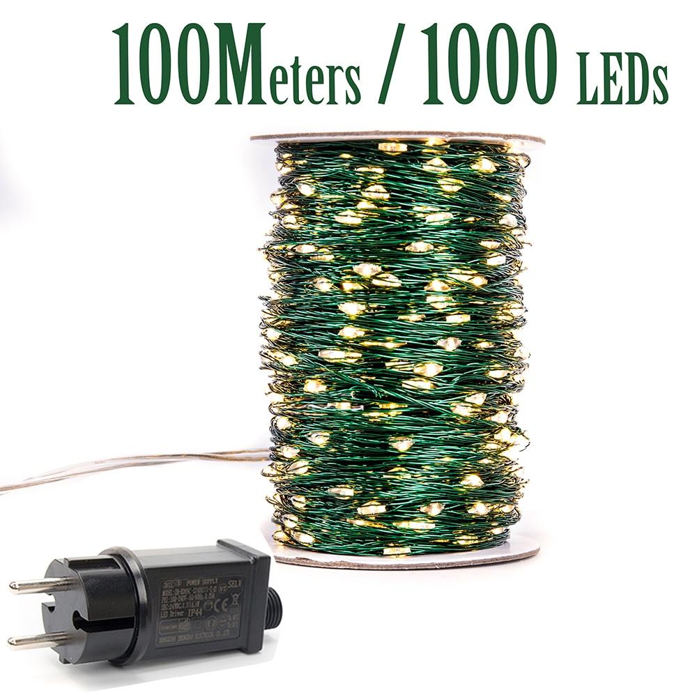 Green Cbale 1000 LED String Lights 100m Street Fairy Lights Outdoor Waterproof Tree Garland Christmas Holiday Decorration