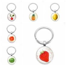 2020 New Hot Fashion Personality Fruit Series Strawberry Apple Time Glass Cabochon Keychain Jewelry Pendant Small Gift hot fashion personality long chain sports series football basketball time glass cabochon keychain jewelry pendant small gift