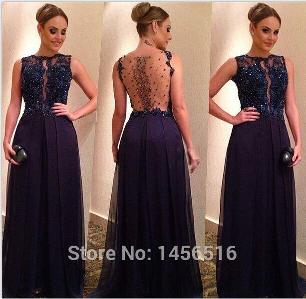 Women Formal Vestido De Renda Longo 2018 New  Sexy Backless Illusion Beading Evening Party Gown Long Mother Of The Bride Dresses