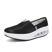 Summer Buffer Rocking Shoes 2019 Women Canvas Thick Bottom Sports Casual Mujer Breathable Comfort  Wedges Low Top Sneakers