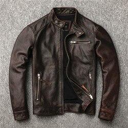 Freies verschiffen. klassische motor stil, vintage echtem leder Jacke, mode männer braun Leder mantel, straße biker mantel, verkäufe