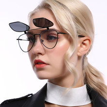 Classic Women Sunglasses Men Polarized Sun Glasses Flip Sun glasses Metal Half F