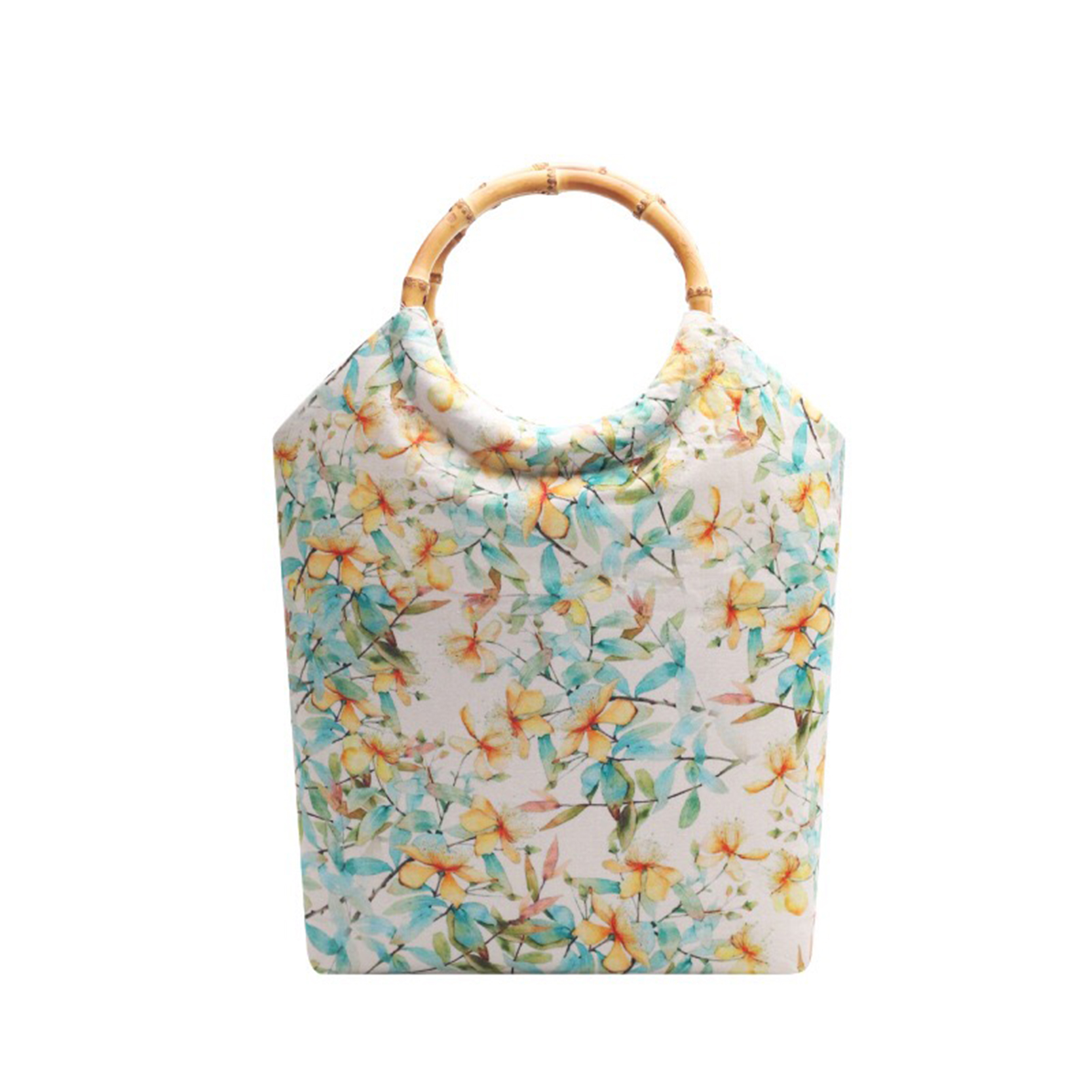 Купить дизайнерская ретро женская сумка с бамбуковой ручкой тканевая