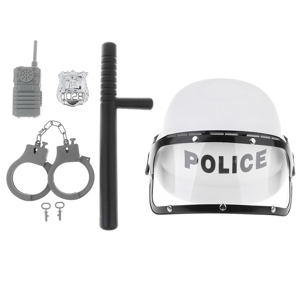 5 Pcs Police Role Play Set - Kids Officer Motorcycles Cop Helmet, Badge, Cuffs Pretend Play Boys Fancy Dress Costume Toys