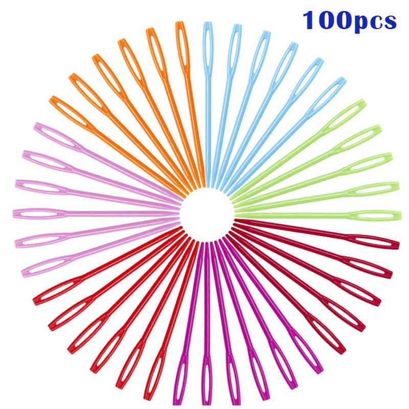 100 Pcs DIY Plastic Needles Tapestry Sewing Wool Yarn Children Crochet Tool Children Colorful PlasticNeedle