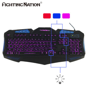 Image 3 - Russian Backlit Illuminate Gaming Keyboard Fighting Nation Russia Layout Letter Computer Wired USB LED Backlight Game Gamer