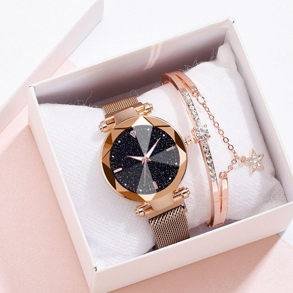 Starry Sky Luxury Women Watches And Bracelet Elegant Ladies Watches Women's Quartz Wristwatch Young Girl Watchproof Reloj Mujer