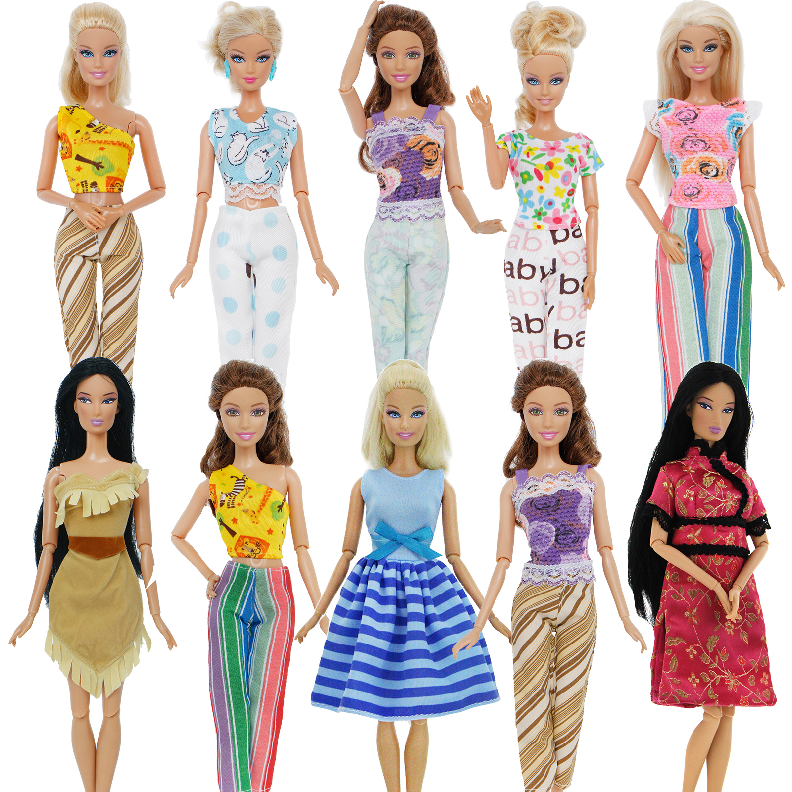 Fashion Mixed Style Outfits Colorful Wedding Party Dress T-shirt Trousers DIY Accessories Clothes For Barbie Doll Baby Toy