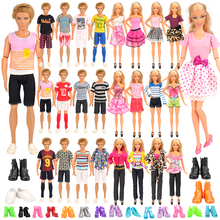 Fashion Handmade 21 Items/set Doll Product =Random Toys 6 Ken clothes 4 Shoes + 6 Doll Shoes 5 Dress For Barbie Game DIY Present