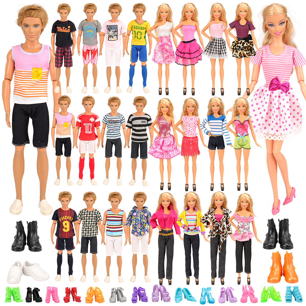 Newest Handmade Random 21 Items/set Doll Product =6 Ken Clothes 4 Shoes + 6 Doll Shoes 5 Dolls Dress For Barbie Game DIY Present
