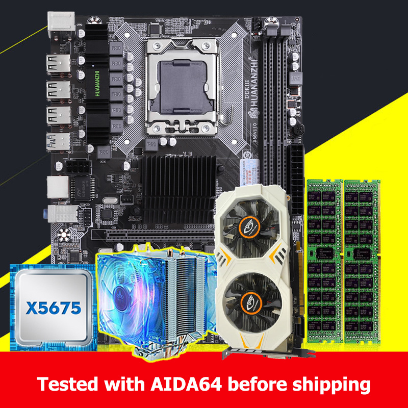 HUANANZHI X58 Motherboard Bundle Computer DIY Xeon CPU X5675 3.06GHz CPU Radiator RAM 16G(2*8G) REG ECC Video Card GTX750Ti 2GD5