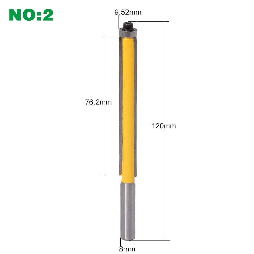 """Image 3 - 8mm Shank 2"""" Flush Trim Router Bit with Bearing for Wood Template Pattern Bit Tungsten Carbide Milling Cutter for Wood-in Milling Cutter from Tools"""